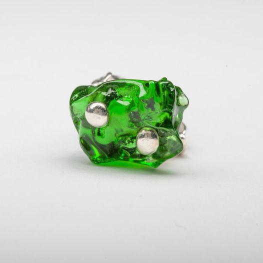 Кольцо из зеленого стекла Морской изумруд