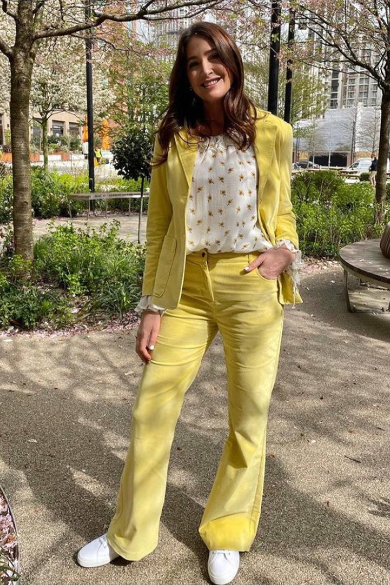 Lisa Snowdon on ITV This Morning in Sunshine Yellow Bow Jean, Hilary Jacket and Stevie Blouse