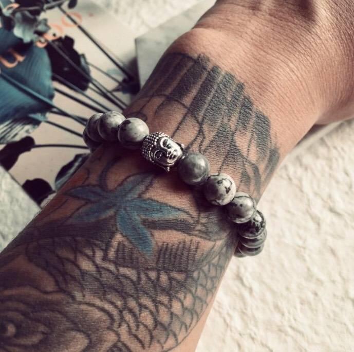 Bracelet Bouddhiste en Perles Grises - King of Bracelet