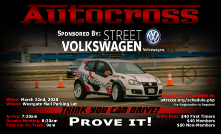WTRSCCA Street Volkswagen AutoX - March 22nd