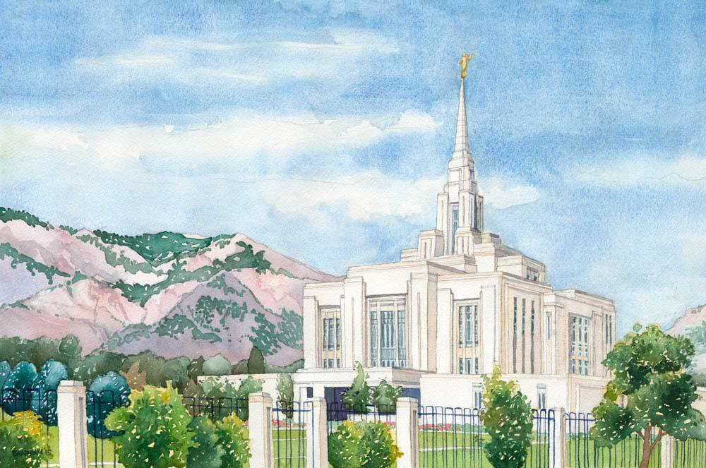 Painting of the Ogden Utah Temple.