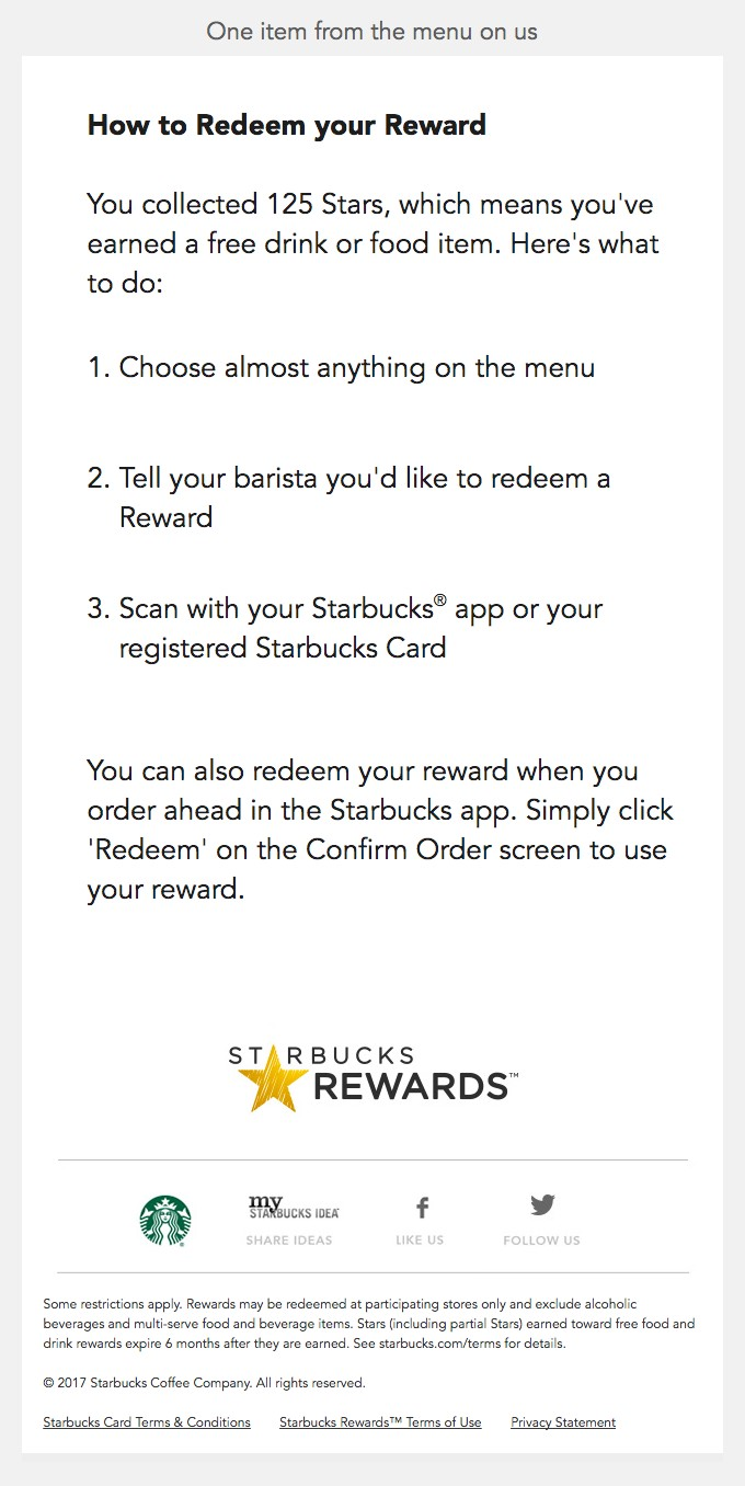 Get your marketing automation strategy started by creating a VIP system, like Starbucks does here.