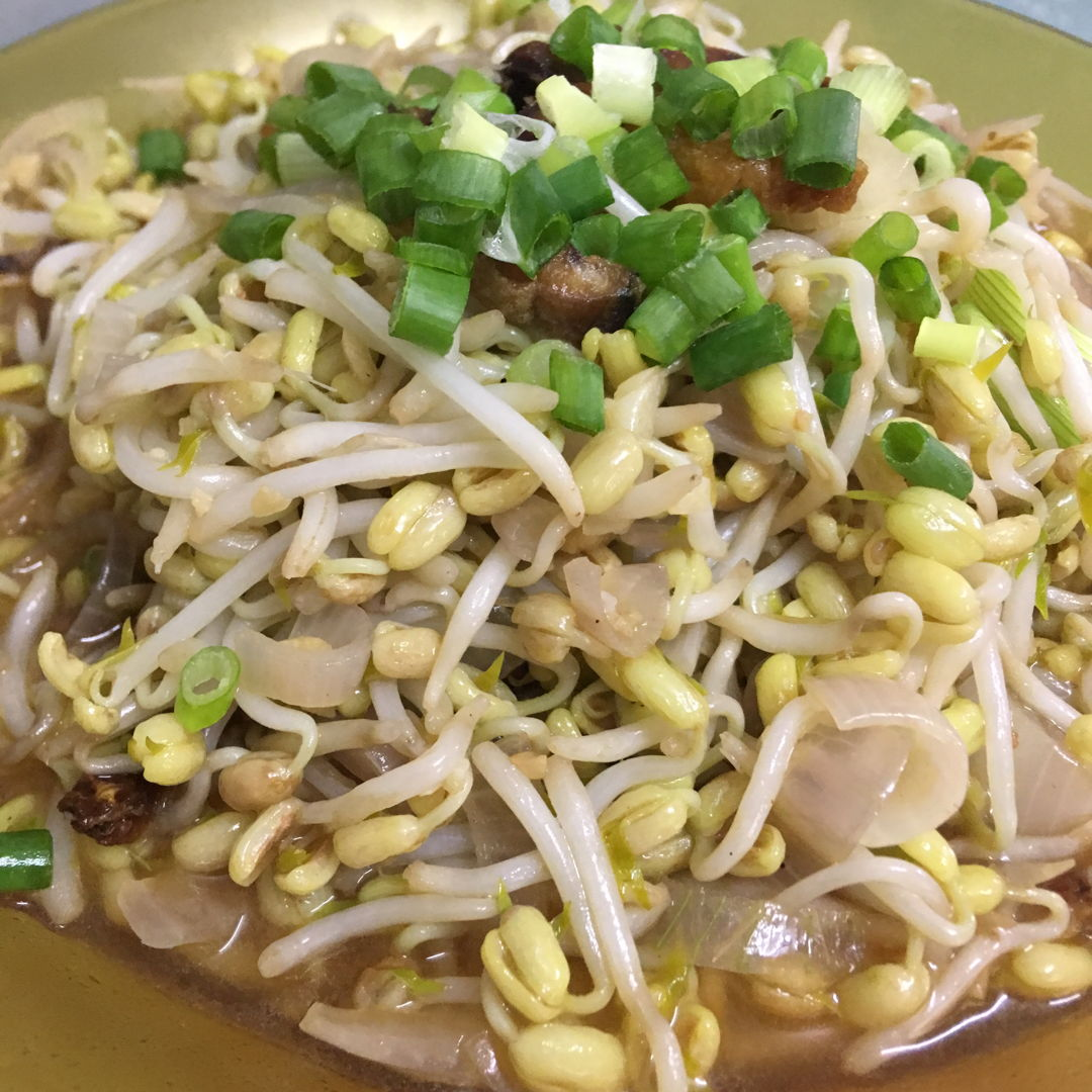 April 22nd, 20 - Stirred fried home grown bean sprouts with salted fish.