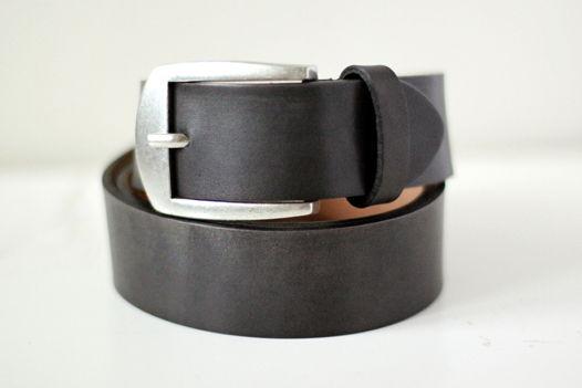 Мужской кожаный ремень серый