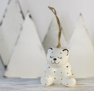 Керамическая ёлочная игрушка ручной работы - МИШКА. Золотая коллекция TAVOLGA.