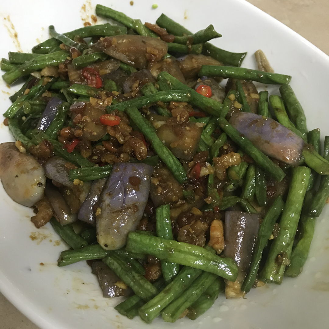 Stir fried eggplant and green beans