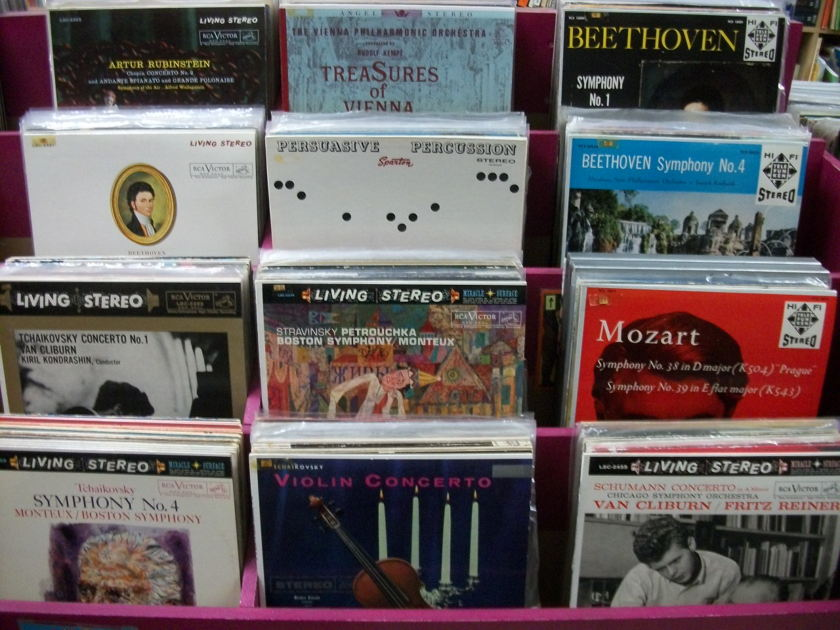 LOT OF 70 CLASSICAL LPs - Early Audiophile Stereo Pressings: London Bluebacks, RCA Living Stereo, Mercury Living Presence. GREAT CONDITION, GREAT SOUND