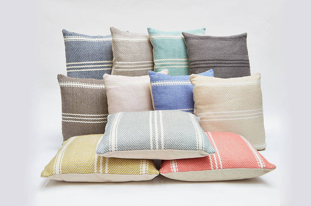 Various Weaver Green striped cushions