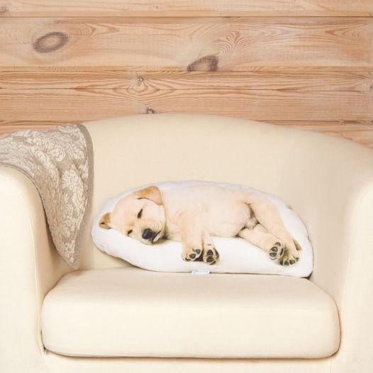 Подушка  Лабрадор – льняная декоративная подушка в виде спящего щенка лабрадора