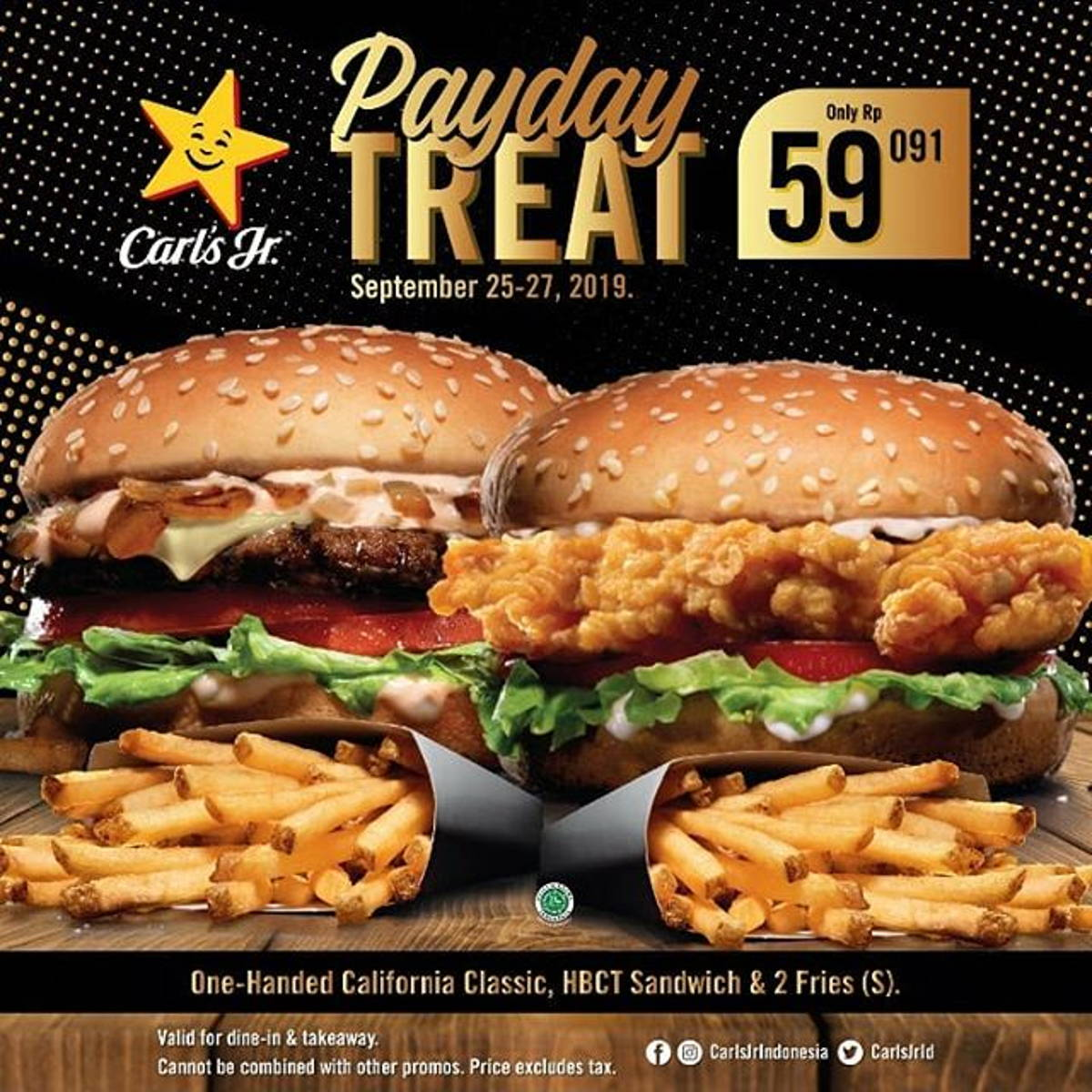 Katalog Promo: Carl's Jr.: PROMO hemat 2 Burger (One-Handed California Classic + Hand-Breaded Chicken Tender Sandwich) + 2 Fries (S) HANYA dengan Rp. 59,091 - 1