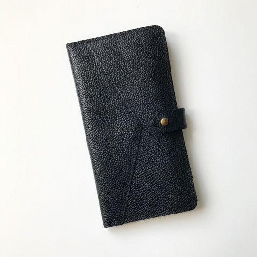 Кожаный кошелек-портмоне Black/Gray
