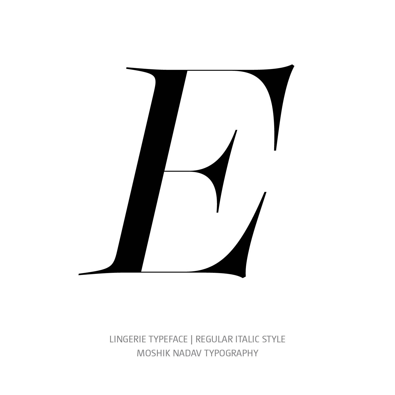Lingerie Typeface Regular Italic E- Fashion fonts by Moshik Nadav Typography