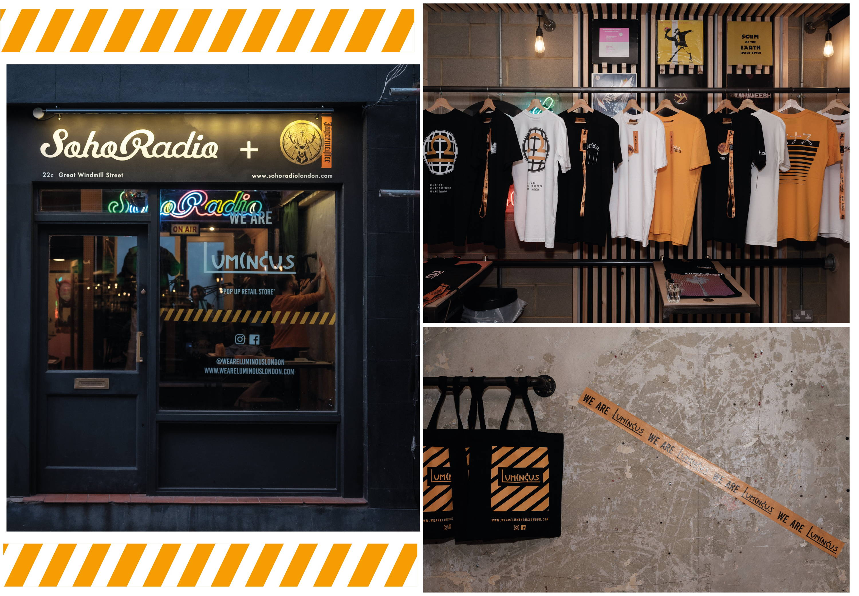 Soho Radio pop up store, our collection on show