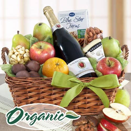 Organic Napa Cider Chocolate Fruit Cheese and Nuts Gift Basket