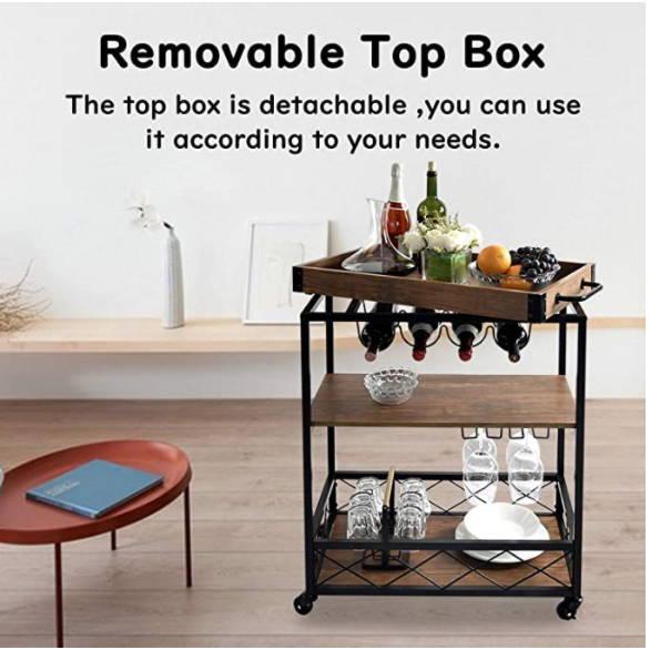 Rolling Serving Cart, At Home Bar Idea, Kitchen Trolley, Basement Bar