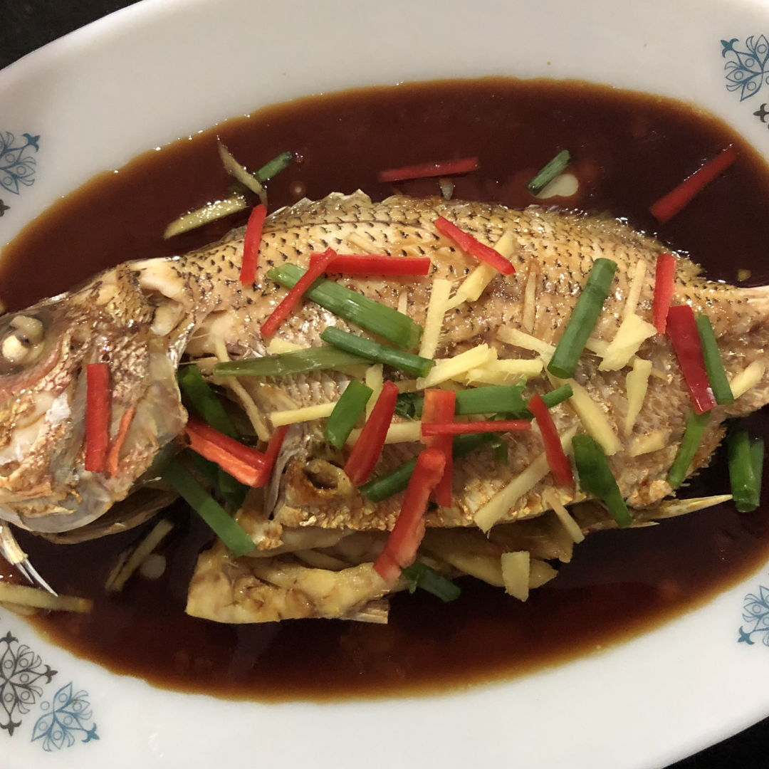 Steam Fish using Soy Sauce from Nyonya Cooking.