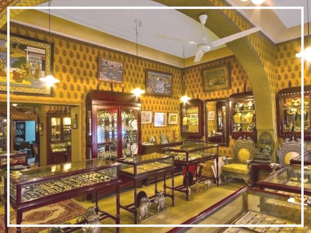 inside of the gem palace jaipur