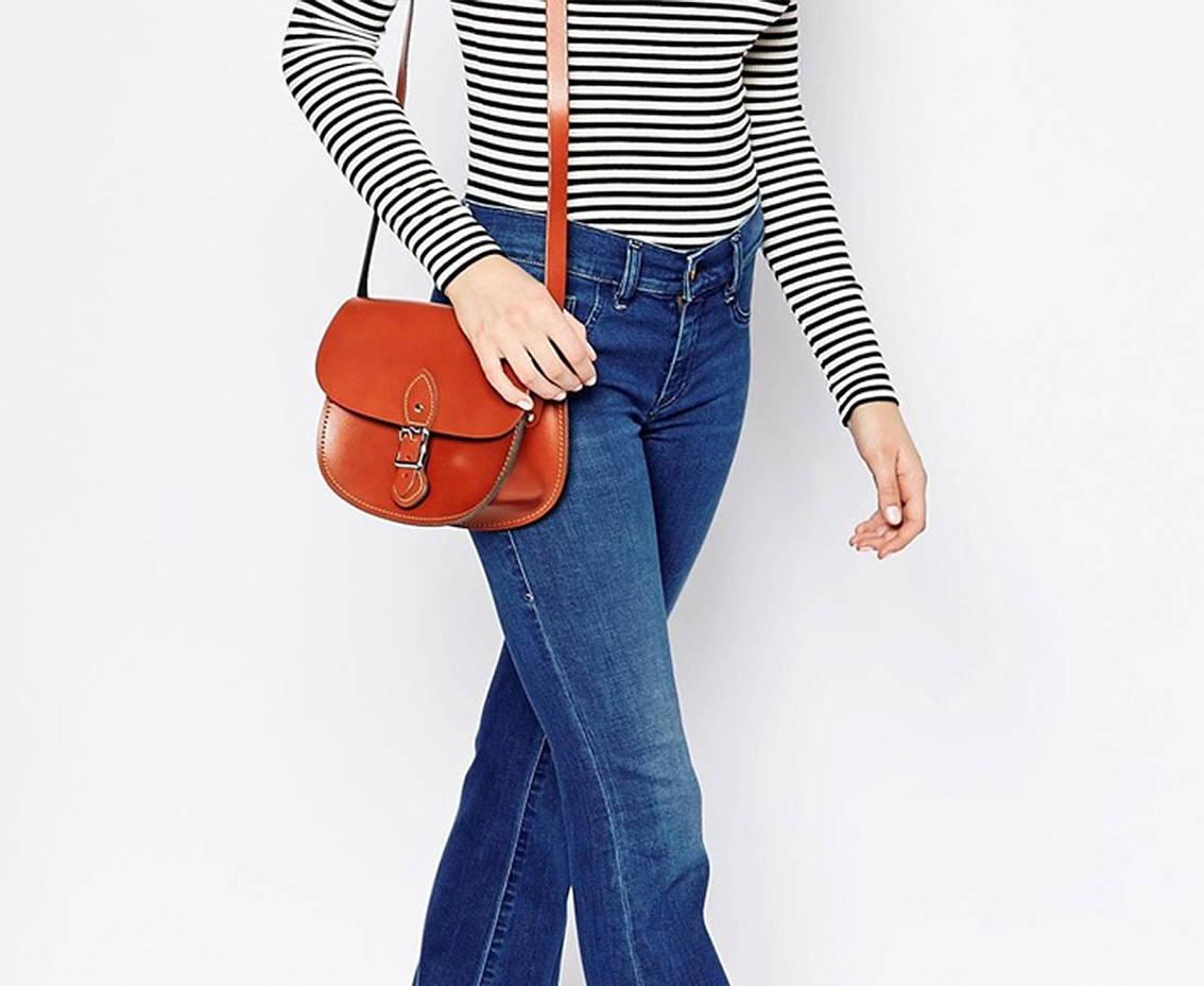 Model Wearing Leather Crossbody Bag