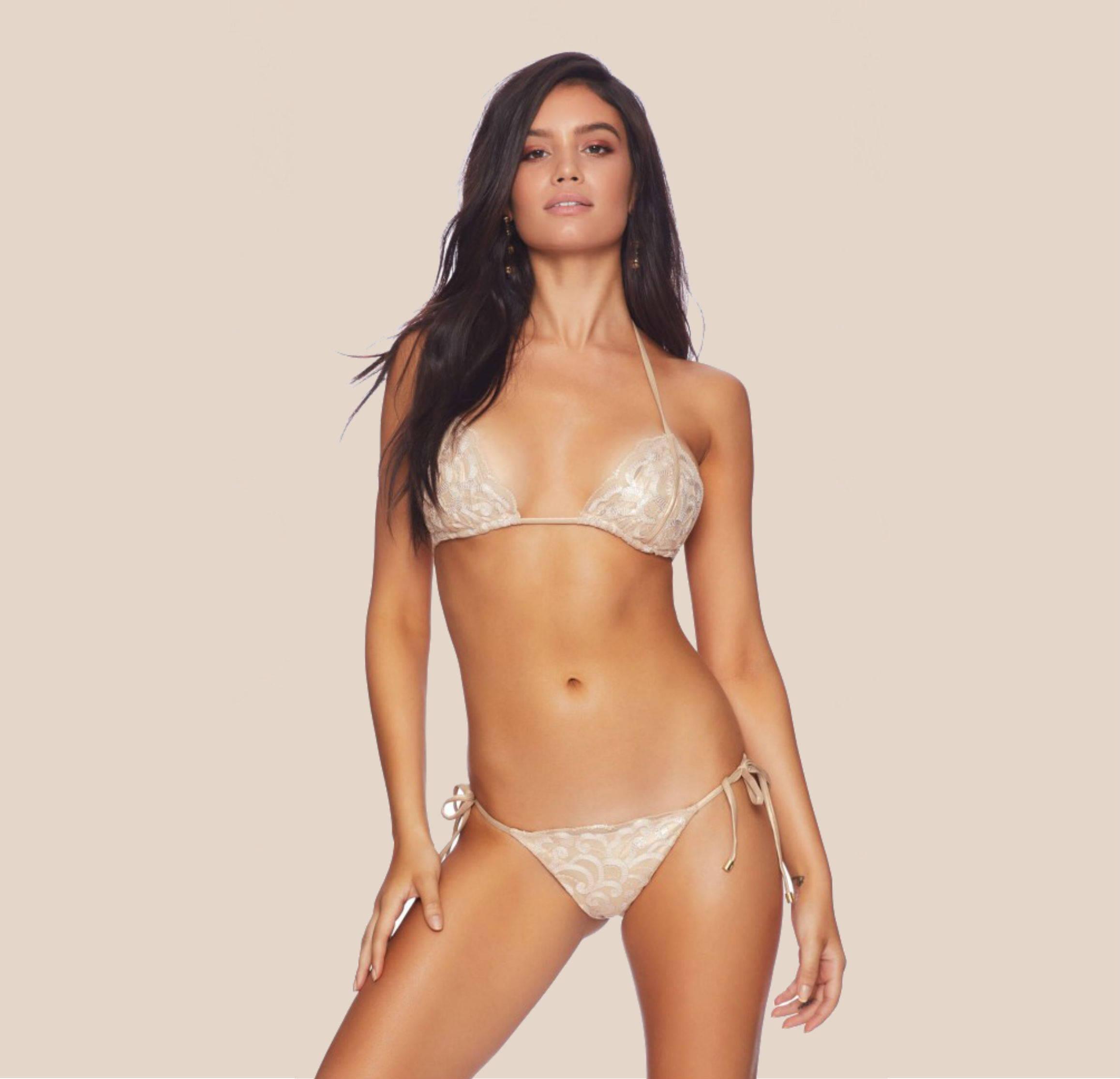 Beach Bunny Rosie String Bikini Top + Tie Side Bikini Bottom