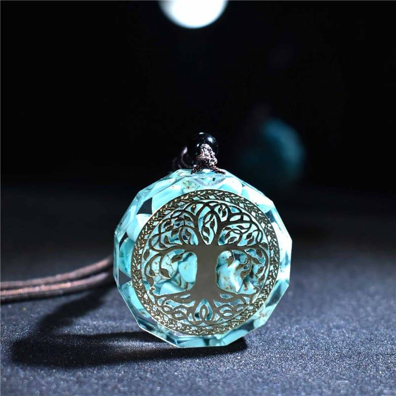 tree of life orgonite necklace, tree of line orgone, orgonite tree of life pendant