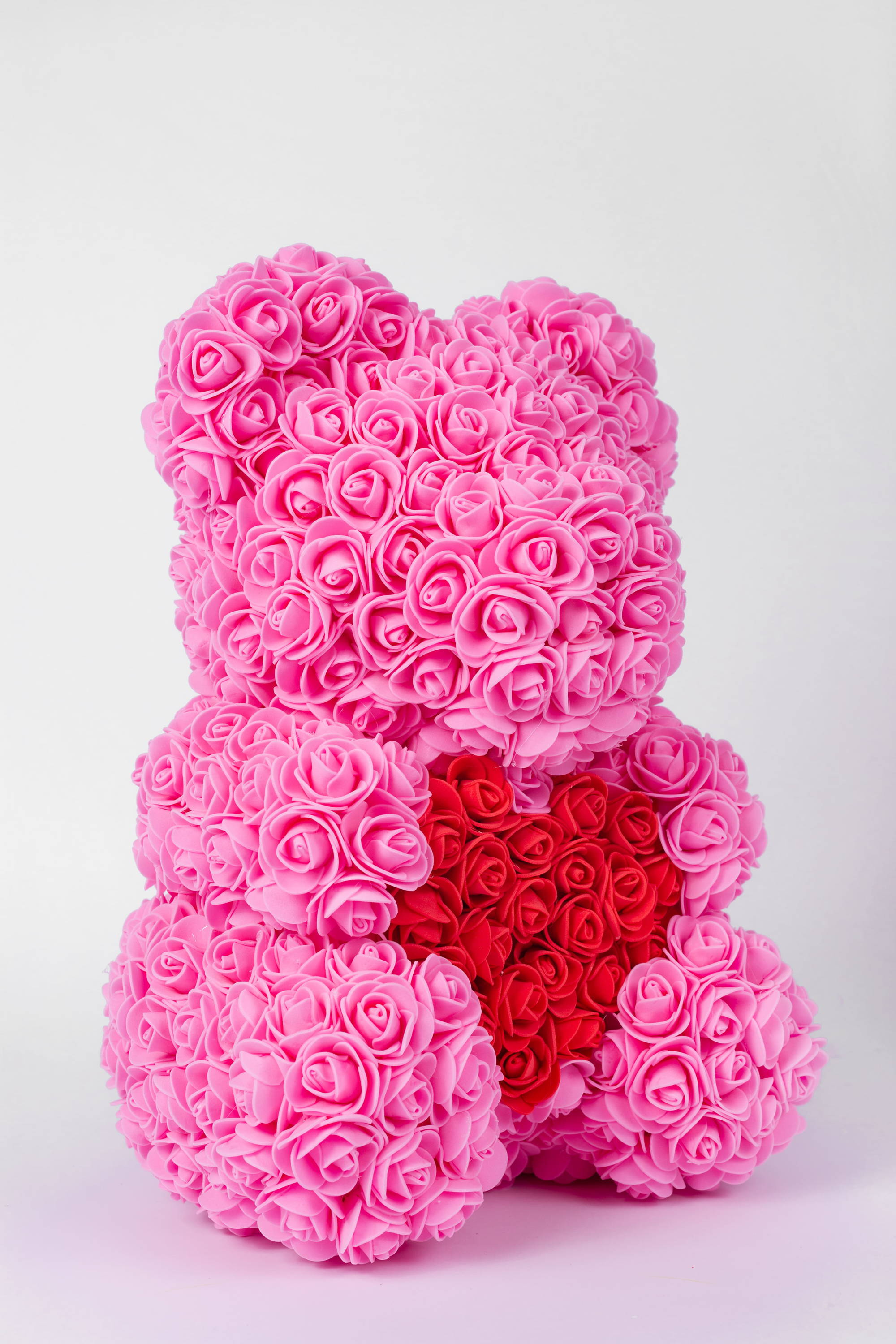 rose bear with heart, rose bear gift