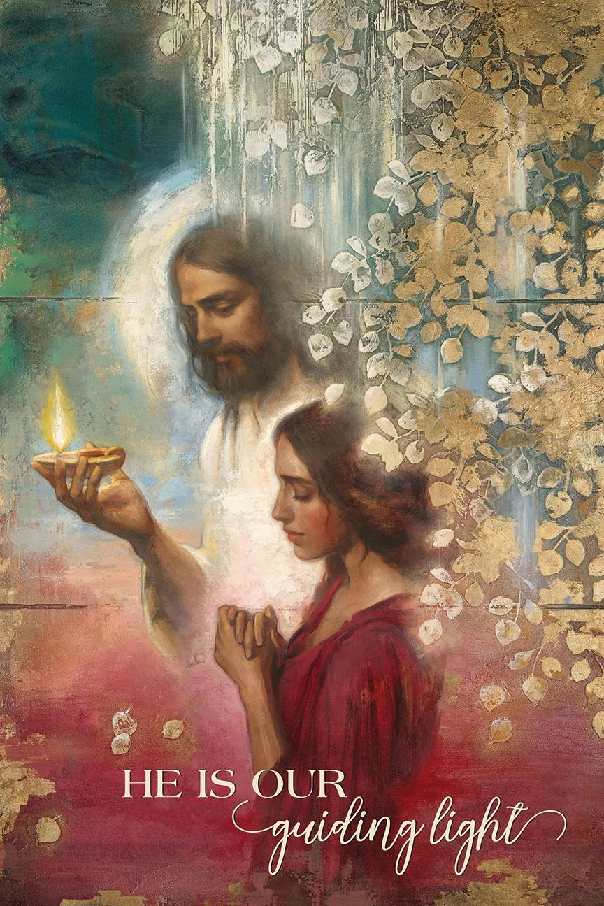 """LDS art poster of Jesus Christ guiding a praying young woman by Annie Henrie Nader. Text reads: """"He is our guiding light."""""""