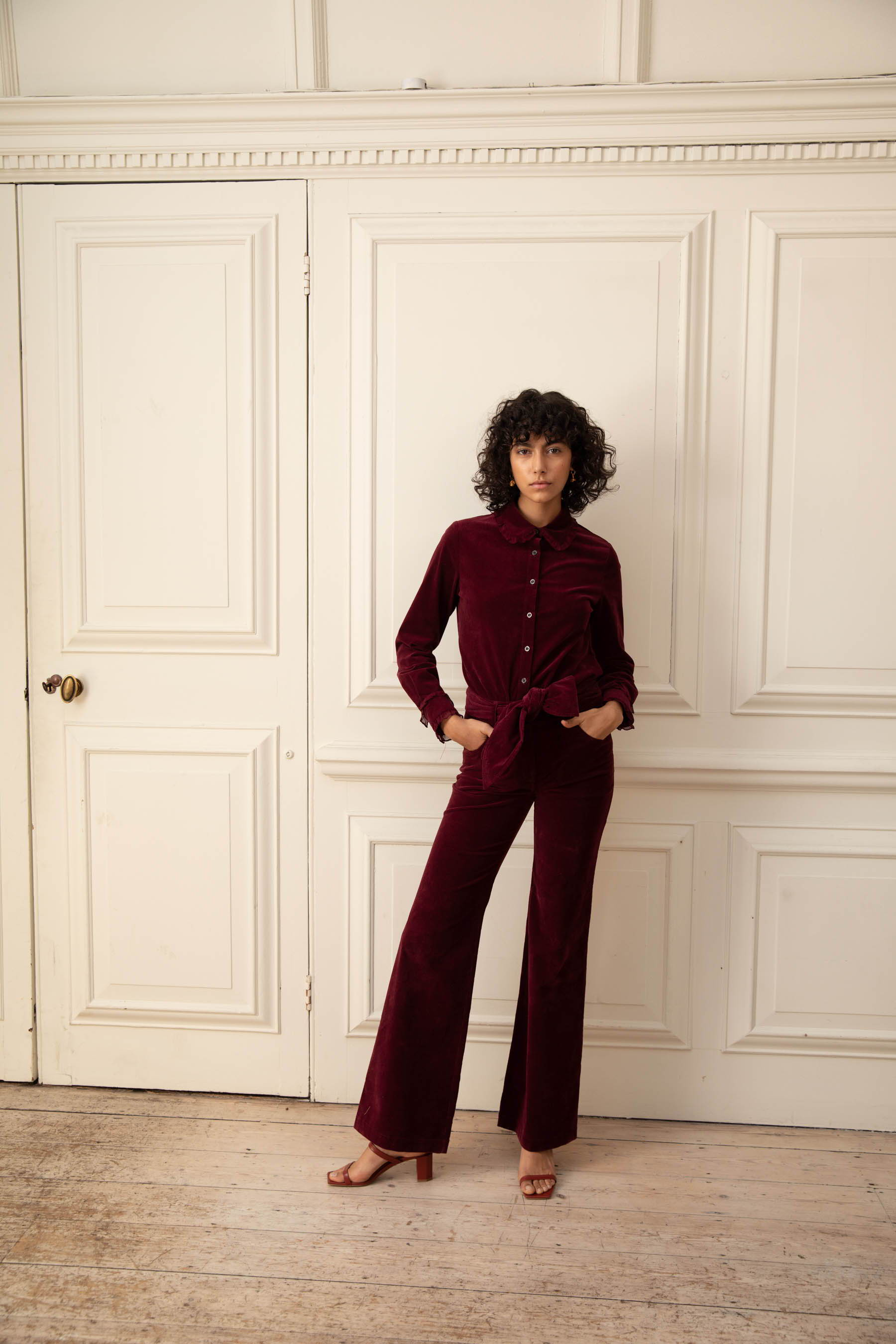 Bow Jean in Burgundy Cord