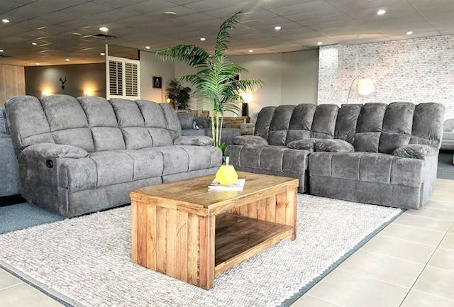 Fabric reclinder suite with wooden coffee table