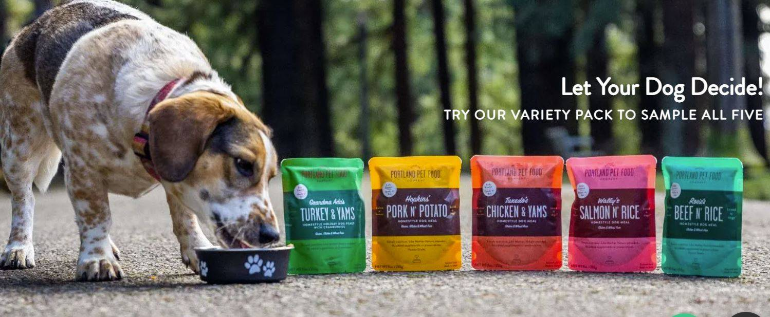 An older dog enjoying a bowl of healthy, dog food toppers from Portland Pet Food Company.