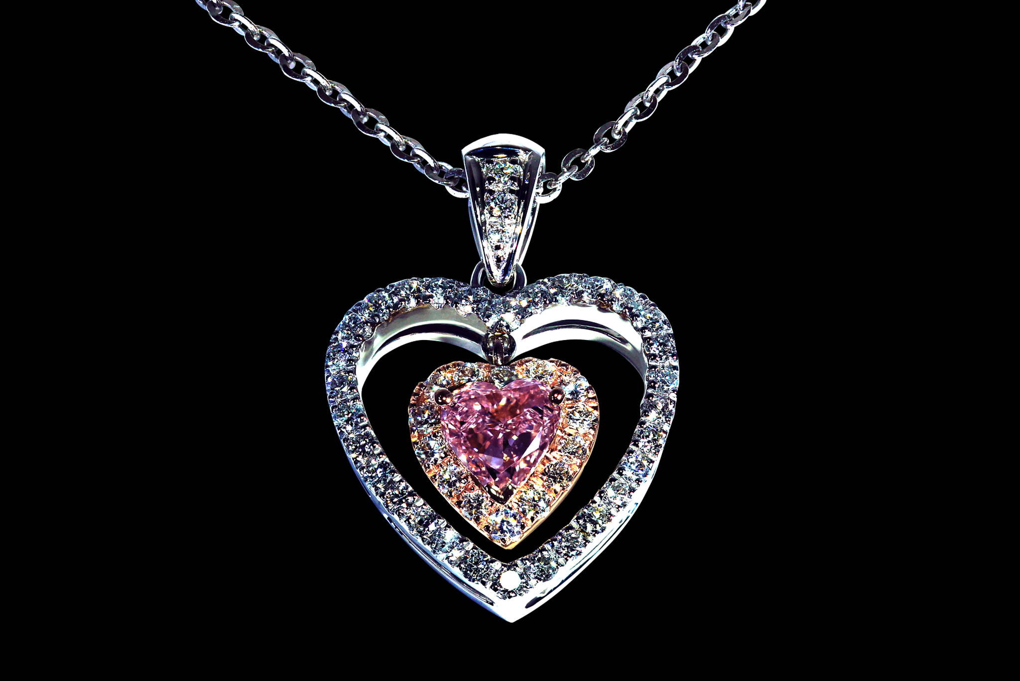 Fancy Vivid Purplish Pink Dangling Heart Pendant front view