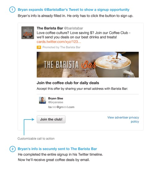 This example from Barista Bar shows how they've integrated Twitter with their email list to encourage sign ups.