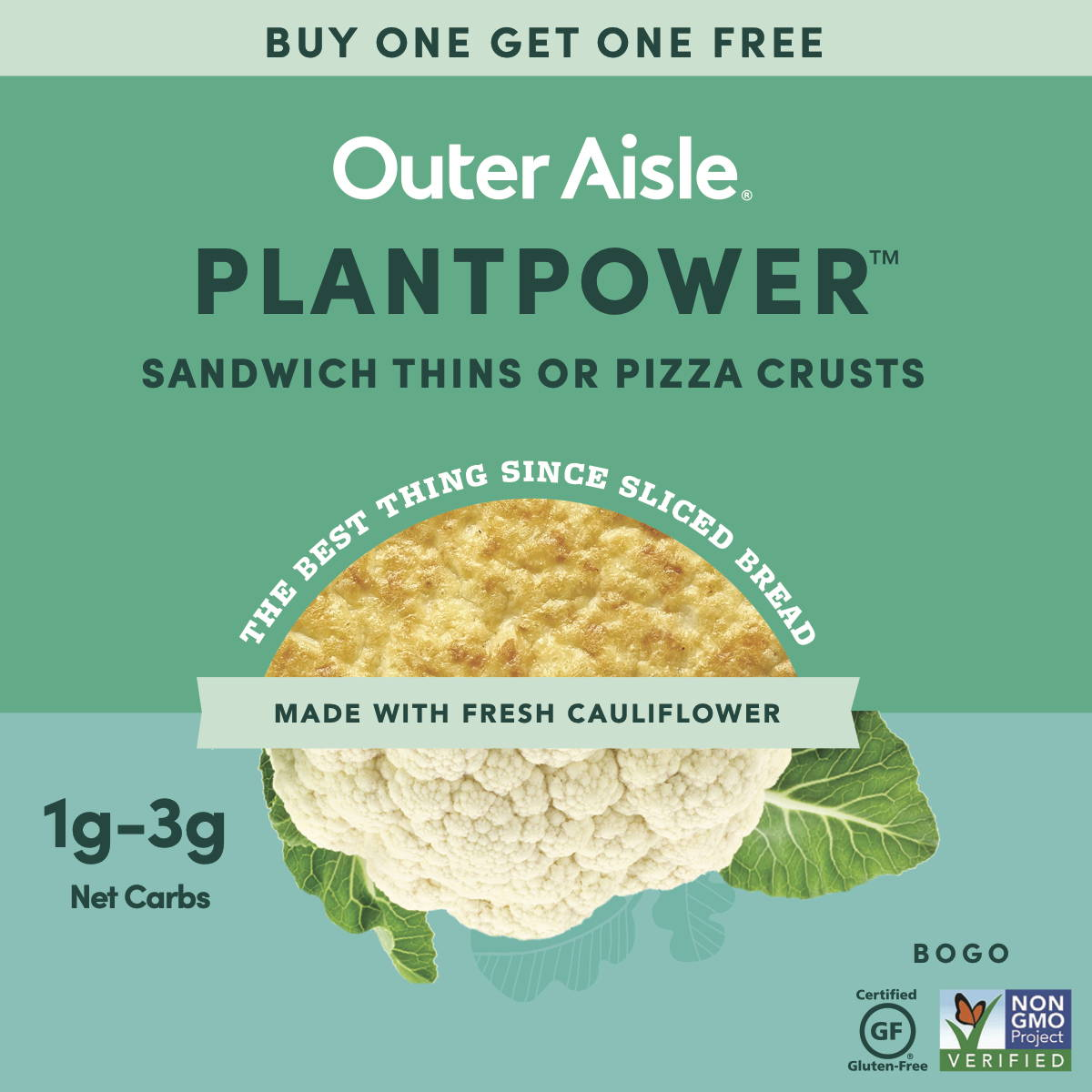 buy one outer aisle item, get one free banner with pizza crusts and sandwich thins