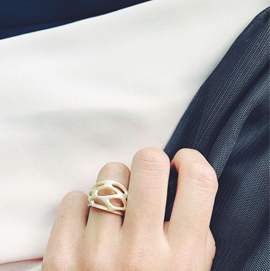 """Кольцо """"Voronoi"""" цвет белое золото"""