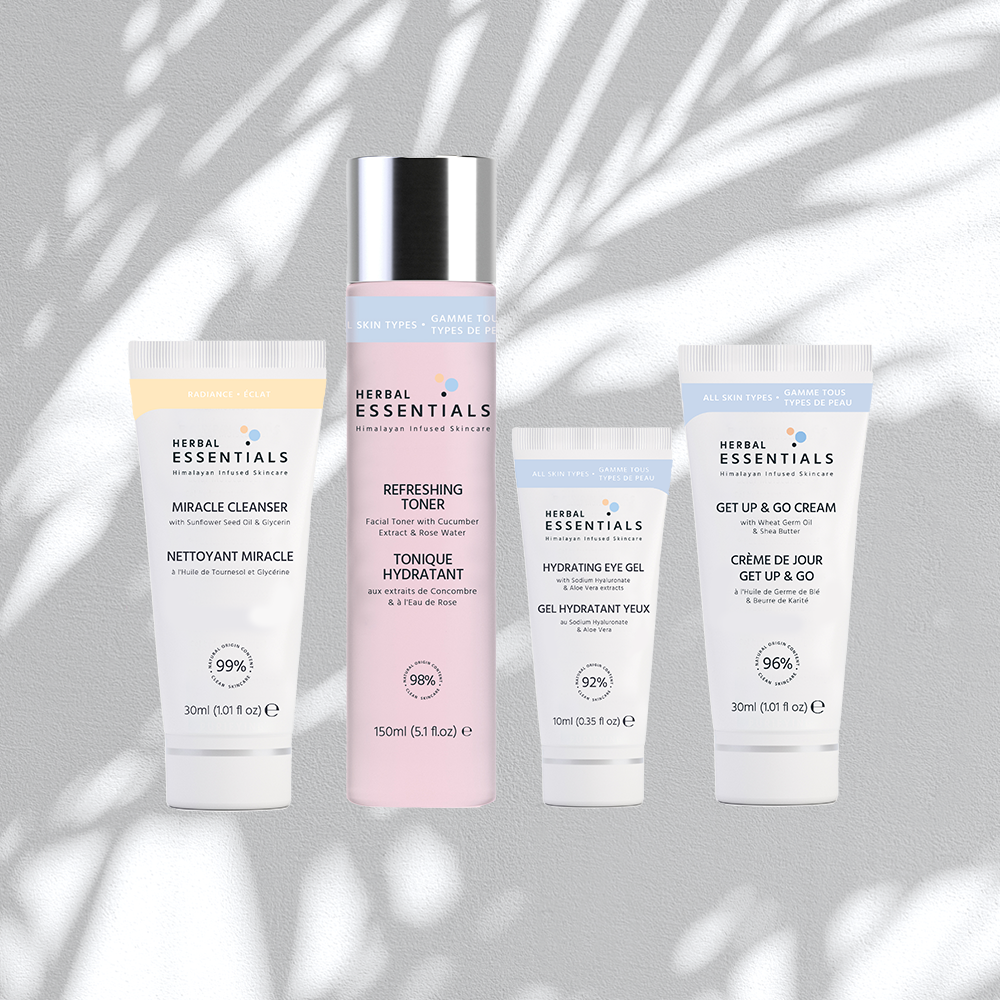 all of the skincare routine products you need from Herbal Essentials all-natural skincare line — a facial cleanser, toner, eye gel, and facial moisturizer