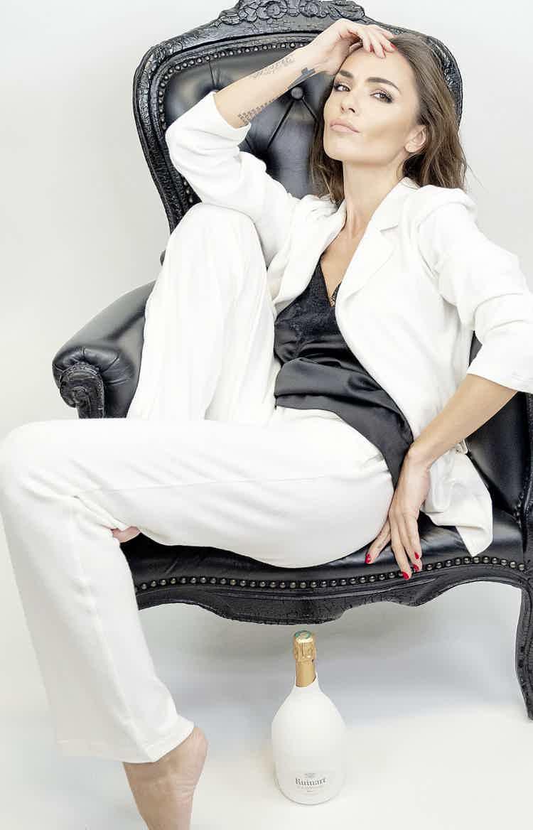 White cashmere suit