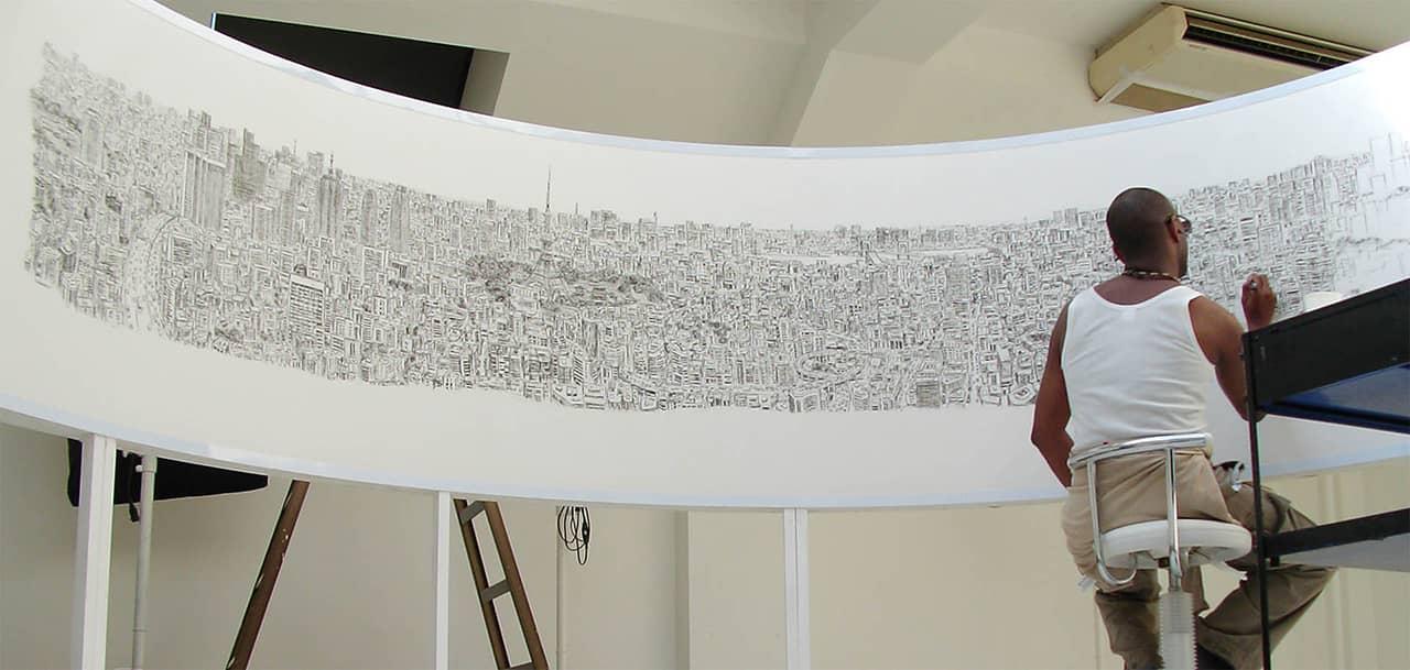 Stephen Wiltshire draws Tokyo Panorama