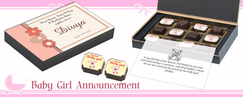 Baby Girl Birth Announcement Gift CHOCOCRAFT