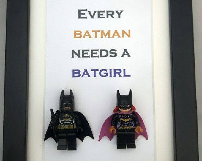 The Batman and Batwoman LEGO frame