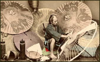 japanese craftsman making umbrellas