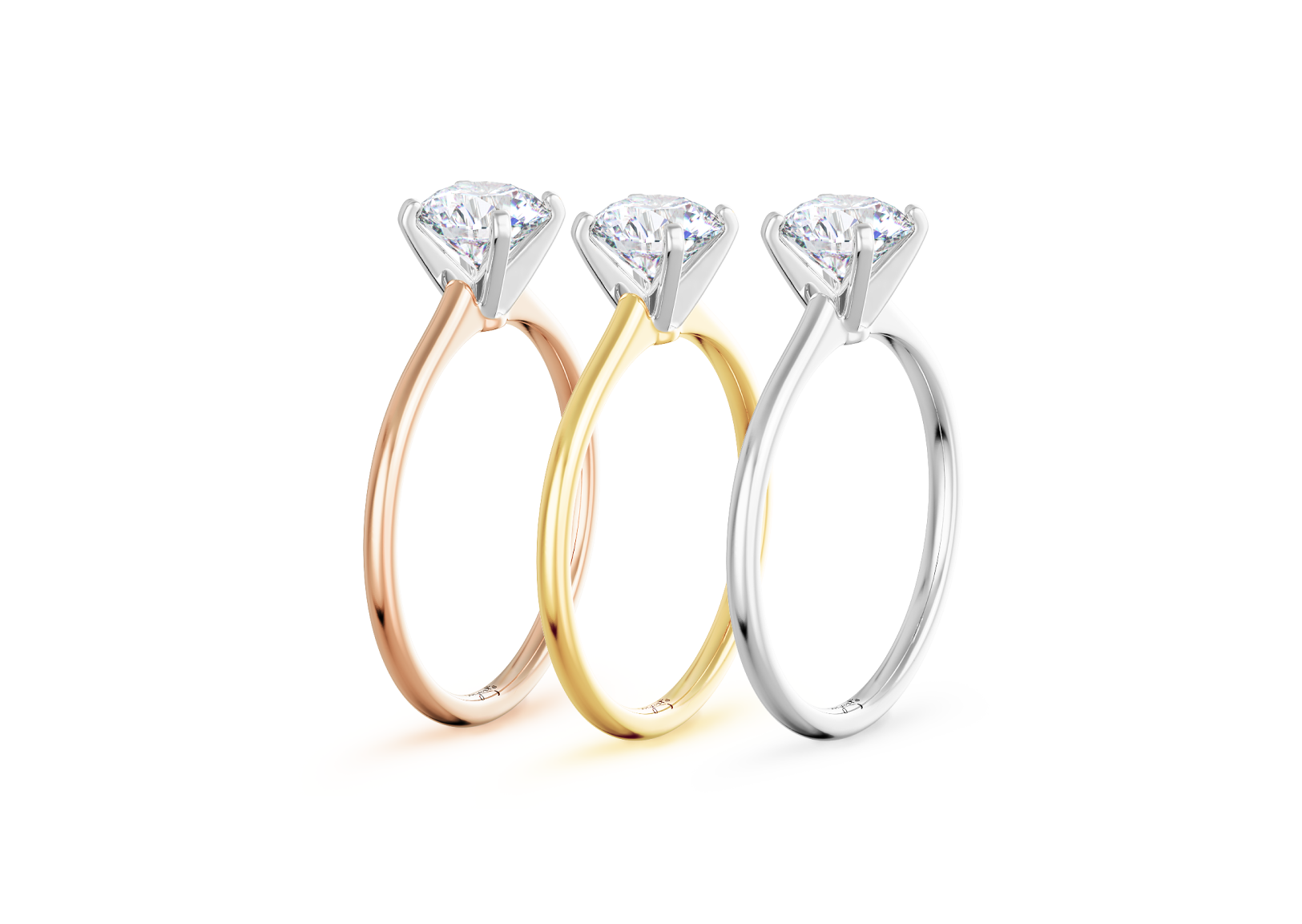 standing side view of Petite Micropave Diamond Engagement Rings in rose, yellow, and white gold
