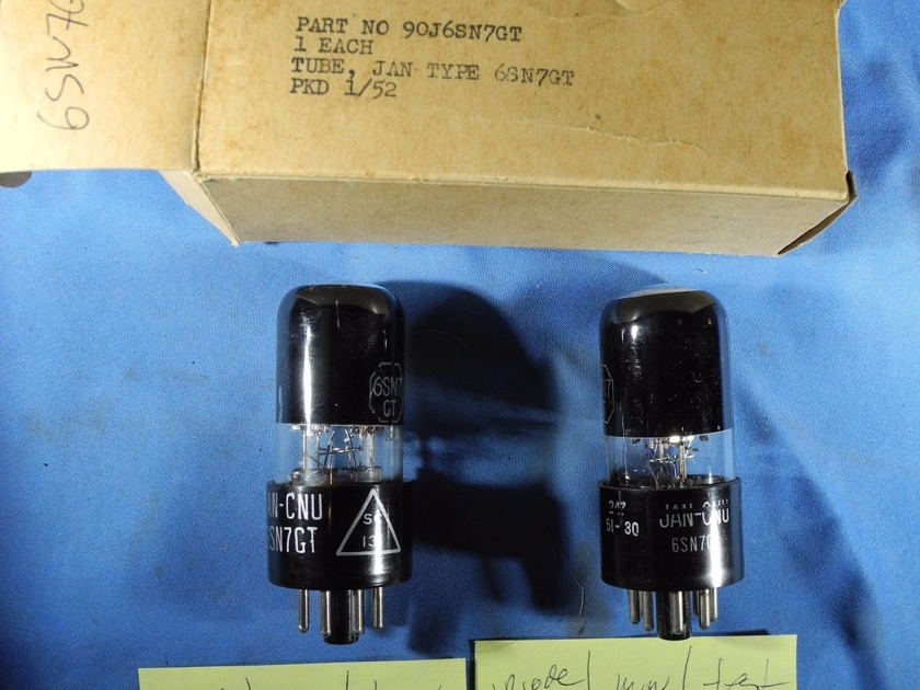 2 new in the box or lightly used  blk glass National Union 6sn7gt tubes