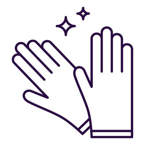 purple icon of two gloves