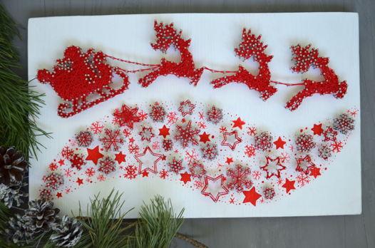Рождественское панно с оленями string art deer