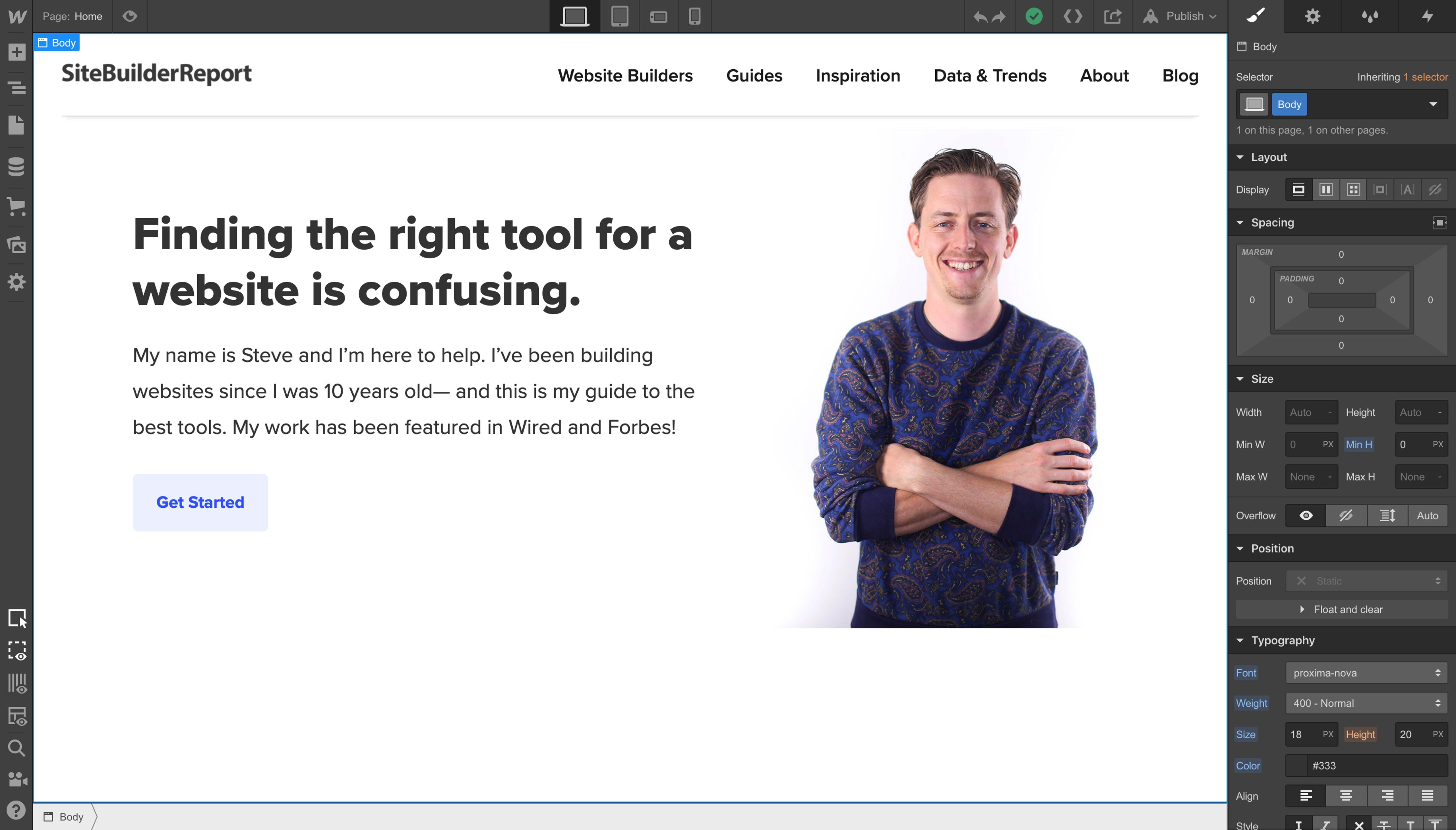 Webflow's designer tool.