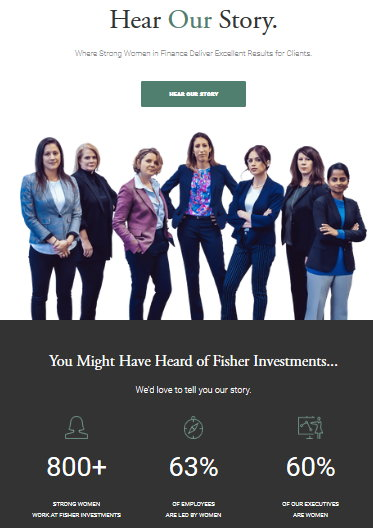 The front page of Fisher's new ad-linked website