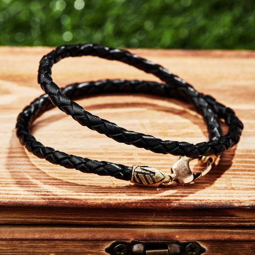 Мужской кожаный плетеный браслет