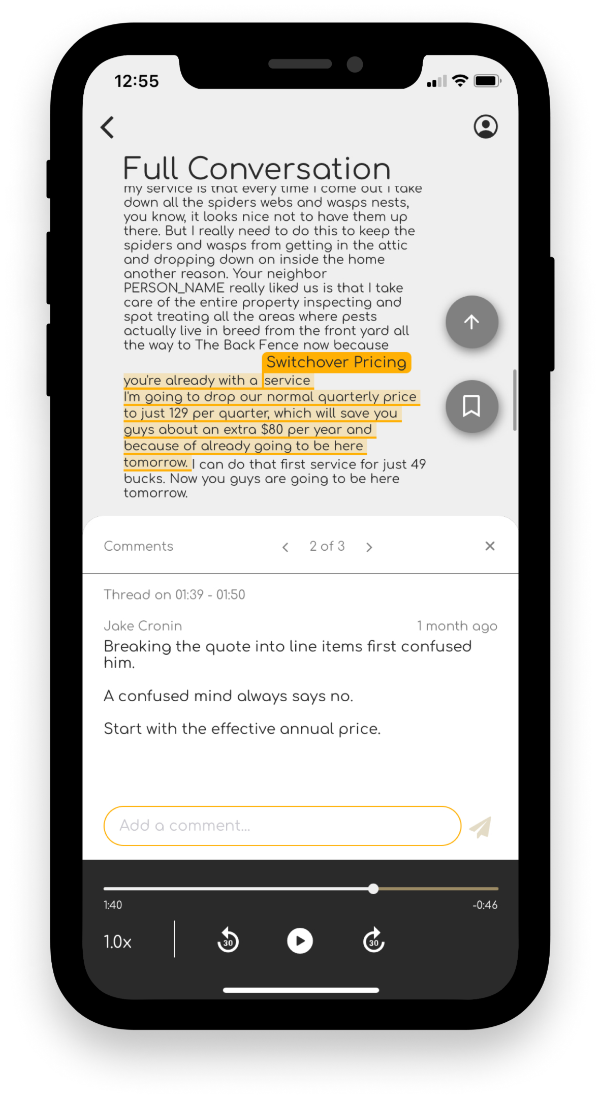 Analyze commentsbook