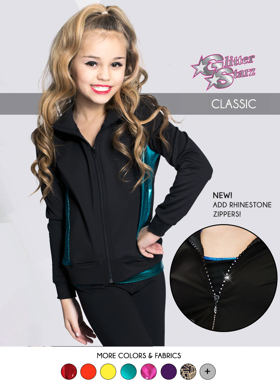 glitterstarz classic warmup teal metallic mystique rhinestone logo team cheer dance apparel