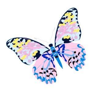 Foulard carré en soie Collection le papillon virginie riou
