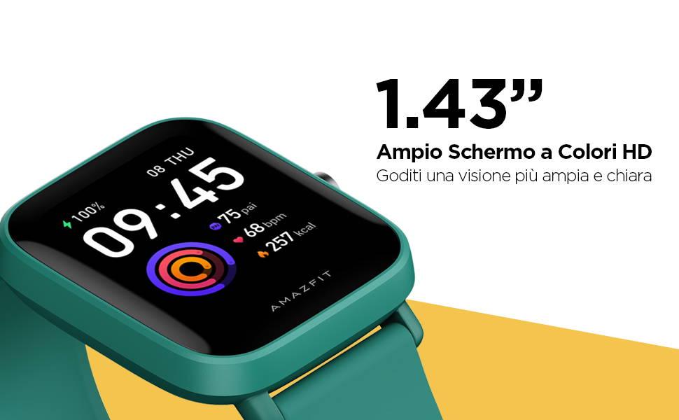 Amazfit Bip U Pro - 1.43'' Ampio Schermo a Colori HD   Goditi una visione più ampia e chiara.